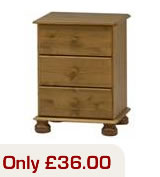 Pine 3 drawer bedside