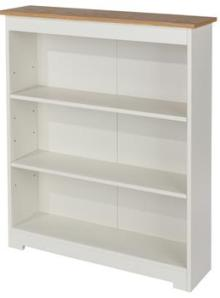 Aviemore Oak Top Low Wide Bookcase - Warm White