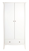 Baroque White Painted Double Wardrobe with Drawer
