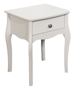 Baroque White Painted 1 Drawer Bedside