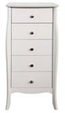 Baroque White Painted 5 Drawer Narrow Chest