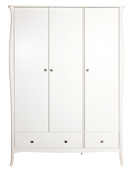 Baroque White Painted Triple Wardrobe with Drawers