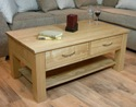 Mobel Oak 4 drawer coffee table with shelf