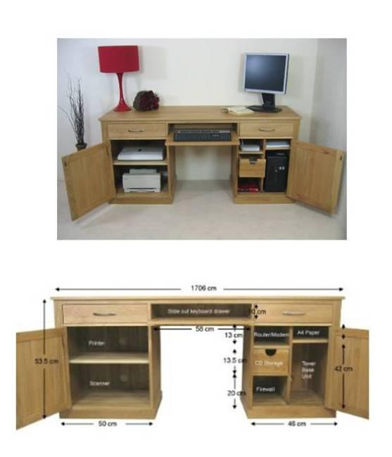 Mobel Oak Large Hidden Office Twin Pedestal Desk Mobel Oak Home Office Furniture