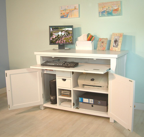 hidden home office desk, Hampton white painted home office furniture