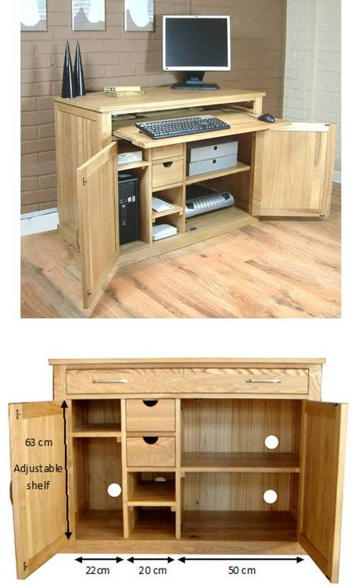oak hidden home office. Mobel Oak Hidden Home Office Desk. U