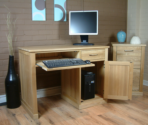 Mobel Oak Single Pedestal Computer Desk Mobel Oak Home
