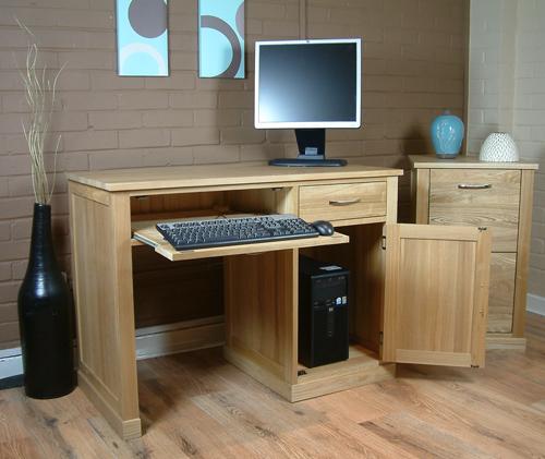 Oak single pedestal computer desk, Mobel oak home office furniture
