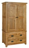 Chateau rustic oak double wardrobe with drawers