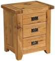 Chateau rustic oak 3 drawer bedside chest