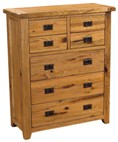 Chateau rustic oak 4+3 drawer tall chest