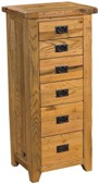 Chateau rustic oak 6 drawer wellington chest