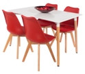 Aspen 120cm Table with 4 x Red Plastic chairs, PU Seat, Wood legs.