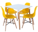 Aspen 80cm Square Table with  4 x Yellow Plastic chairs, Metal Cross, Wood legs.