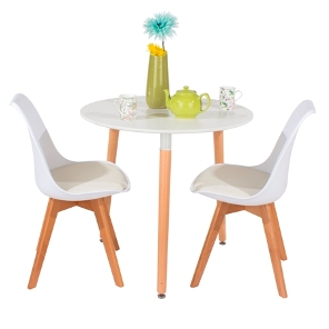 Aspen 80cm Round Table with 2 x White Plastic chairs, PU Seat, Wood legs.