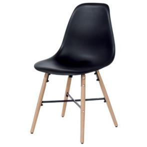 Aspen 2 x Black Plastic chairs, Metal Cross, Wood legs, (sold in pairs only)