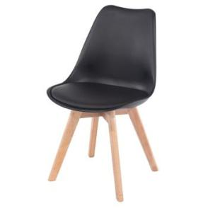 Aspen 2 x Black Plastic chairs, PU Seat, Wood legs, (sold in pairs only)
