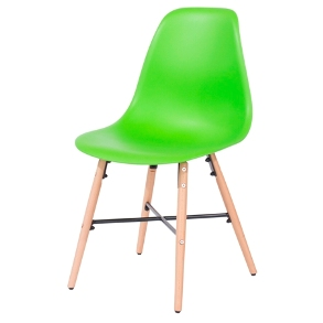 Aspen 2 x Green Plastic chairs, Metal Cross, Wood legs, (sold in pairs only)