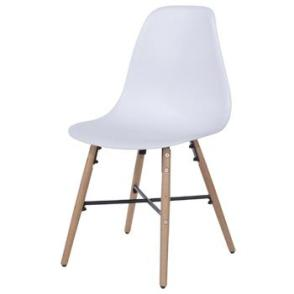 Aspen 2 x White Plastic chairs, Metal Cross, Wood legs, (sold in pairs only)