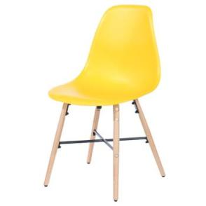 Aspen 2 x Yellow Plastic chairs, Metal Cross, Wood legs, (sold in pairs only)
