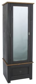 Corona Armoire Carbon Mirrored Door Wardrobe
