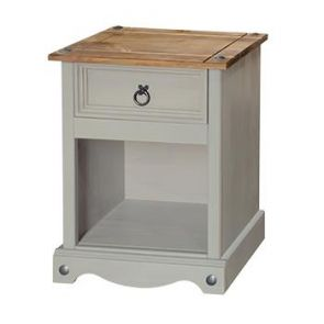 Corona Grey Washed 1 Drawer Bedside