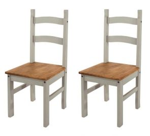 Corona Grey Washed 2 x Design Dining Chairs