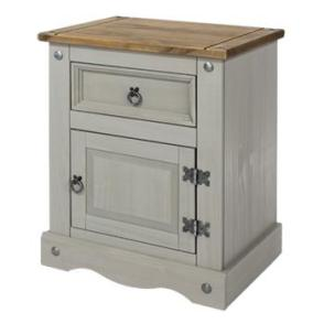 Corona Grey Washed 1 Door 1 Drawer Bedside