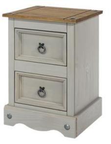 Corona Grey Washed 2 Drawer Small Bedside
