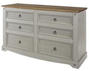 Corona Grey Washed 3+3 Drawer Wide Chest
