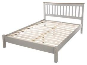 Corona Grey Washed Double Slatted Bed with Low Foot End.