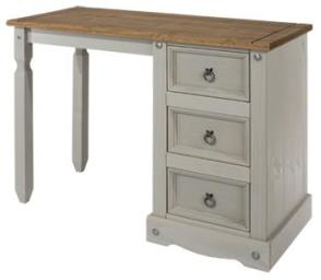 Corona Grey Washed Single Pedestal Dressing Table
