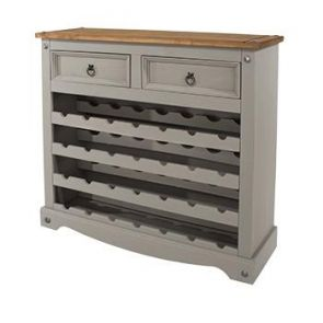Corona Grey Washed Wine Cabinet Rack