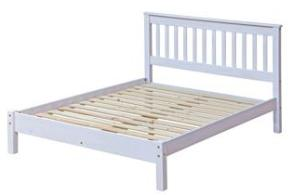 Corona White Washed Double Slatted Bed with Low Foot End.