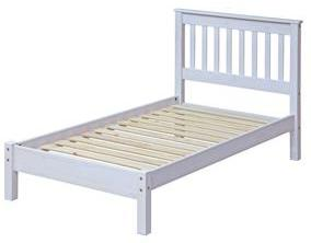 Corona White Washed Single Slatted Bed with Low Foot End.