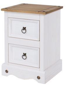 Corona White Washed 2 Drawer Small Bedside