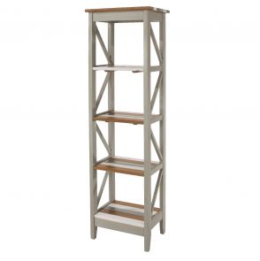 Corona Vintage Grey Washed 5 Tier Narrow Shelf Unit