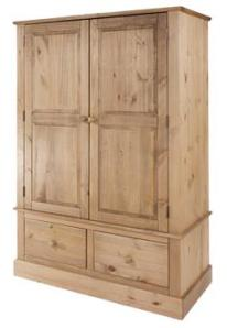 Cotswold Waxed 2 door, 2 drawer wide wardrobe