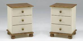 Two Richmond Cream 3 drawer bedsides (Pair)