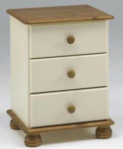 Oslo Pine Cream Furniture 3 Drawer Bedside Chest Richmond Cream