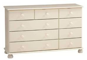 Kingston white painted 2+3+4 drawer wide chest
