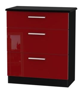 knightsbridge ruby black 3 drawer deep chest clearance