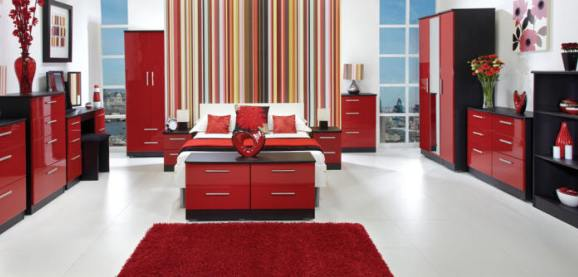Black and Ruby Gloss Bedroom