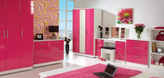 White and Pink Gloss Bedroom