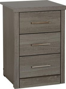 Lisbon 3 Drawer Bedside in Black Wood Grain