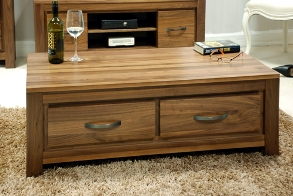 Mayan Walnut Low Four Drawer Coffee Table