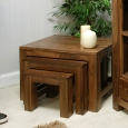 Mayan Walnut Nest of 3 Coffee Tables