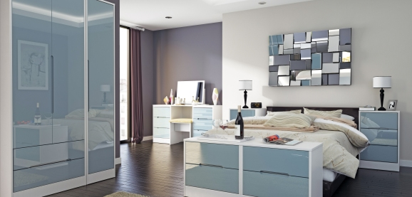 White And Grey Gloss Bedroom Monaco Coloured Bedroom Furniture