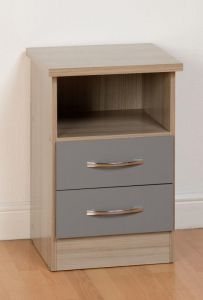 Nevada Grey 2 Drawer Bedside