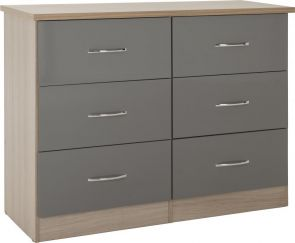 Nevada Grey 3+3 Drawer Wide Chest